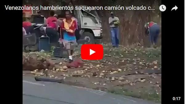 Venezolanos hambrientos saquearon camión volcado con frutas y verduras
