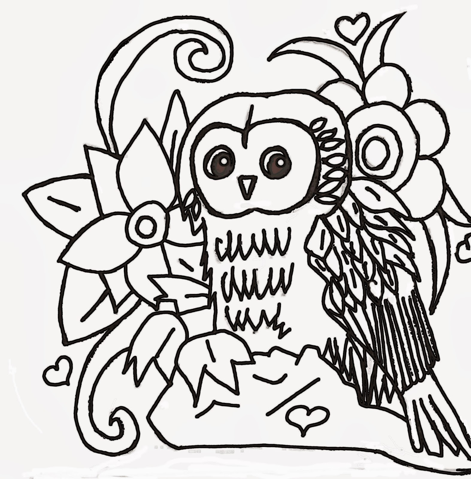Christian Images In My Treasure Box: Home Drawn Owl In The