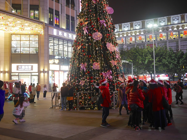 people taking photographs next to a Christmas tree