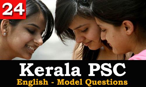 Kerala PSC - Model Questions English - 24