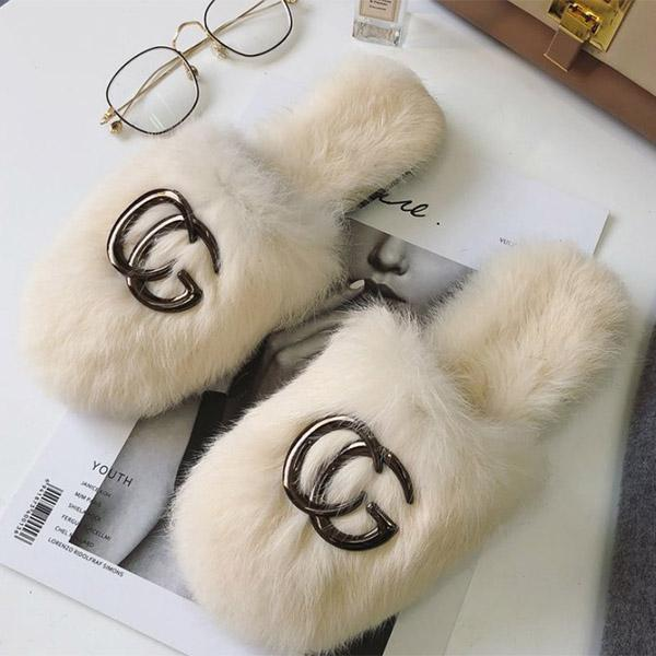 Fashion Fluffy Letters Plain Slippers