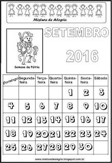 Calendário de 2016 - setembro
