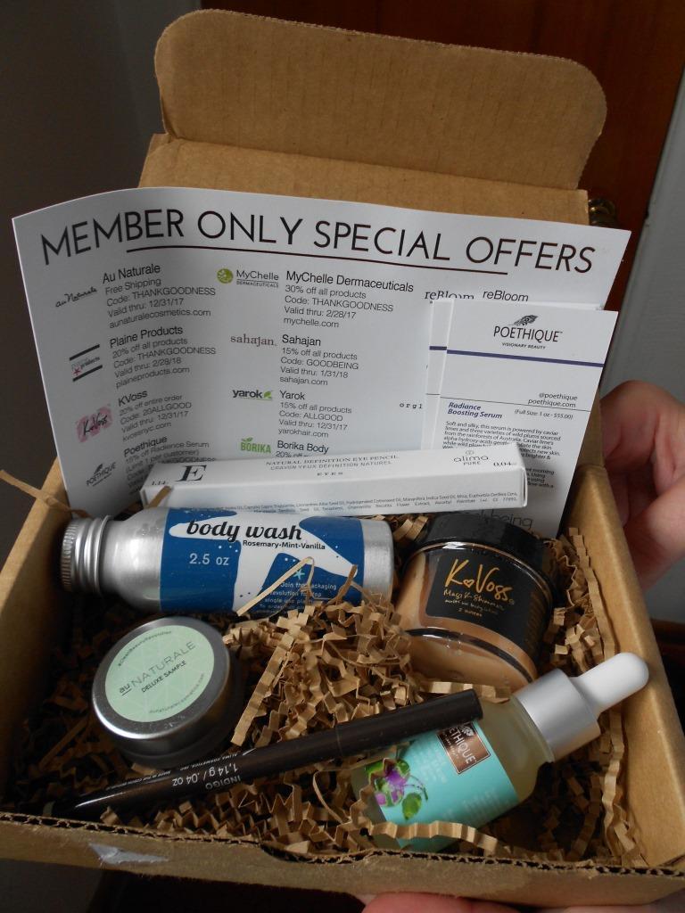 Goodbeing Natural Beauty Subscription Box Nov. 2017