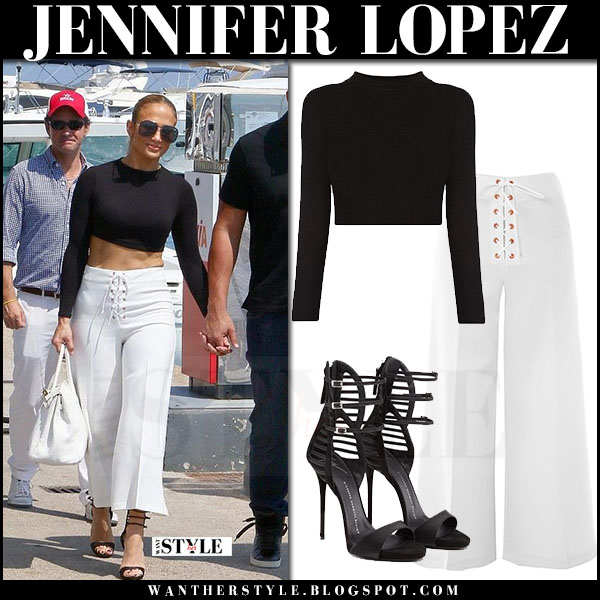 Jennifer Lopez in black crop top and white wide leg trousers topshop what she wore june 18 2017