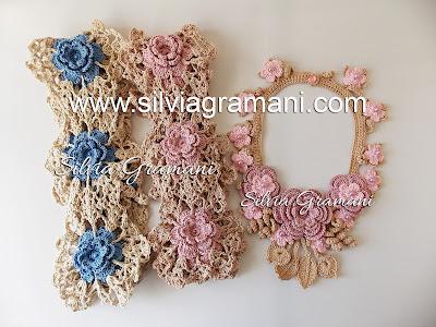 Flores de Crochê - Cachecol e Colar
