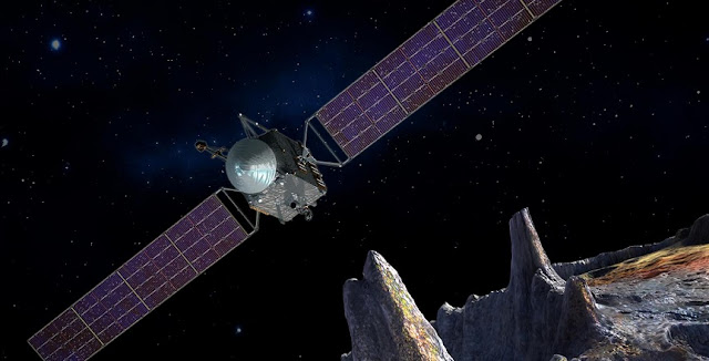 Artist's concept of the Psyche spacecraft, which will conduct a direct exploration of an asteroid thought to be a stripped planetary core. Image credit: NASA/JPL-Caltech