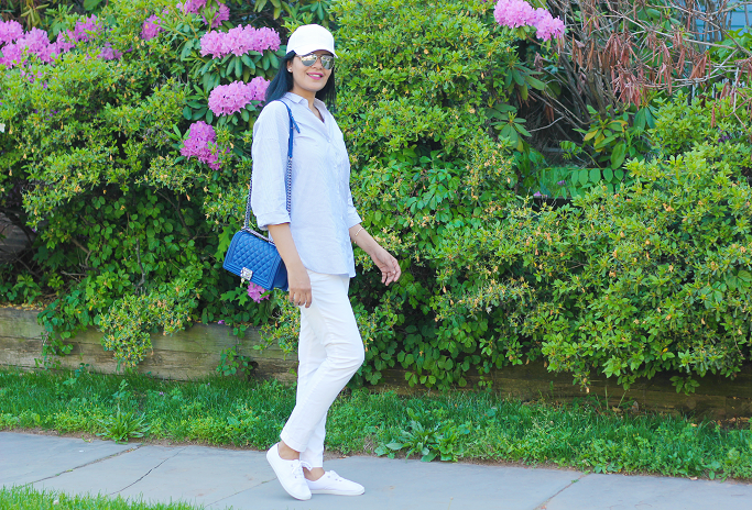 Zara strped shirt, Chanel Le Boy, White Pants Styling, How To Wear White Jeans