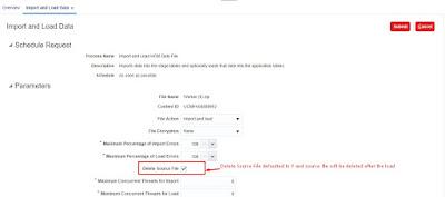 HCM Data Loader delete source file option enabled