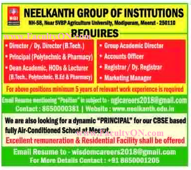 Neelkanth Group of Institutions Meerut Wanted Faculty