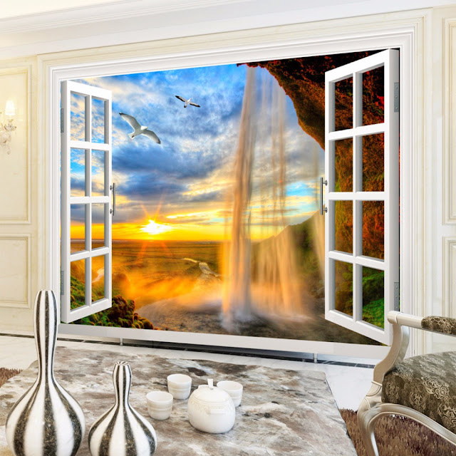 3d wall Murals wallpaper Sunset Waterfall Window Landscape wall murals Wallpaper Wall Mural Bedroom Livingroom