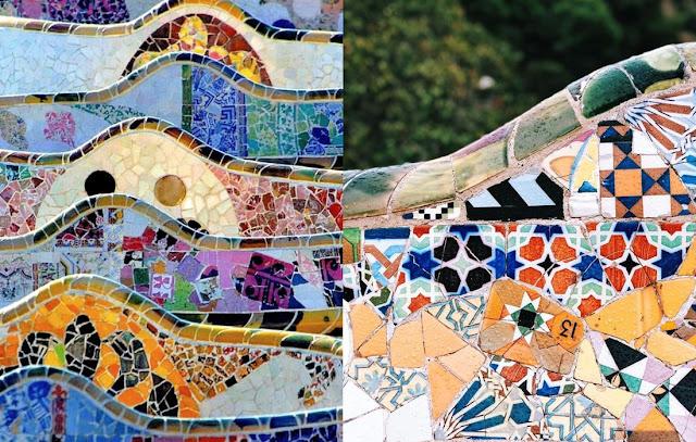 Antonio Gaudi - Parc Guell Barcelone, Espagne, Détails des mosaïques
