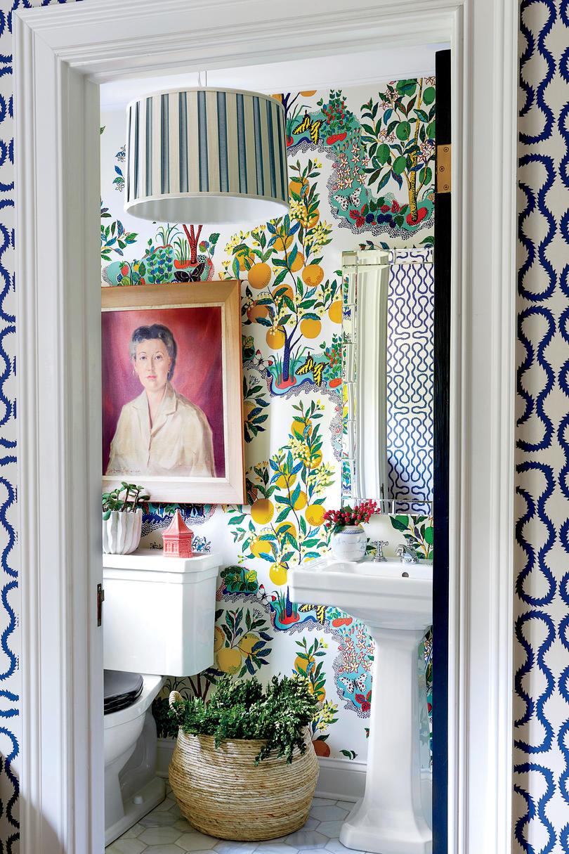 2019 home decor design trend, citrus accents in home decor, schumacher citrus garden wallpaper