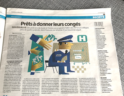 Clod illustration Le Parisien RTT solidarité police 14 avril 2017