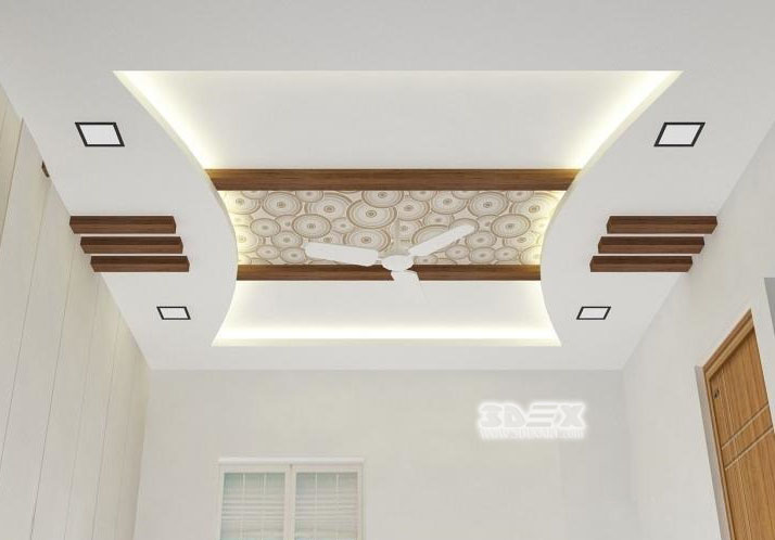 POP False Ceiling Design For Living Room With LED Indirect Lighting