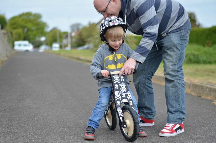 wooden balance bike, Kiddimoto, learning to ride a bike
