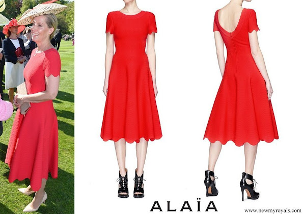 Countess of Wessex wore Alaïa Scalloped wavy stripe knit dress