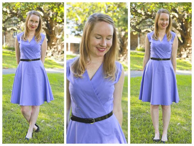 1950s Blue Polka Dot Wrap Blouse