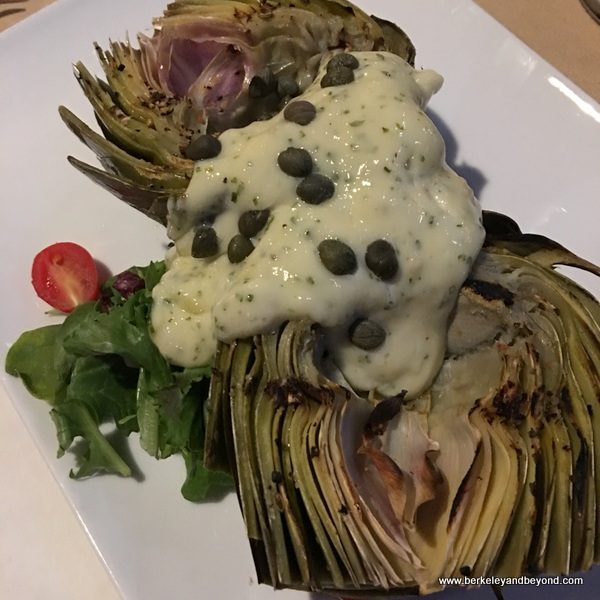 grilled artichoke appetizer at Anton & Michel in Carmel, California