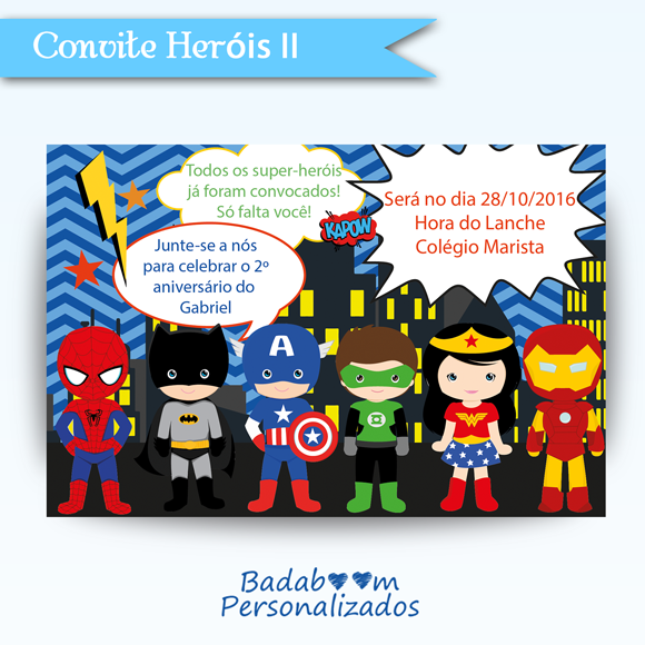 Convite digital Heróis para impressão e internet