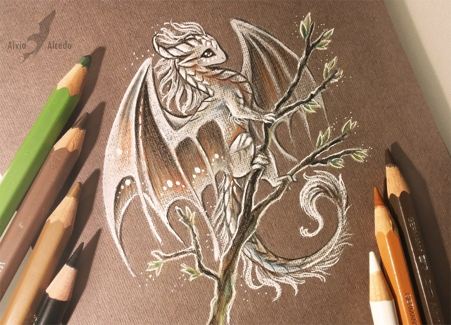 17-White-spring-dragon-Alvia-Alcedo-Dragon-and-other-Mythical-Fantasy-Drawings-www-designstack-co