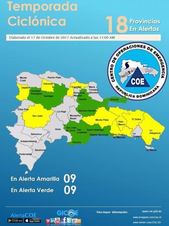 COE: diez provincias en alerta amarilla y 9 en verde incluido el GSD