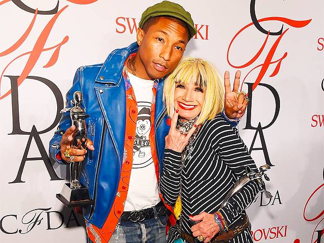 Betsy Johnson with Pharrell at CFDA