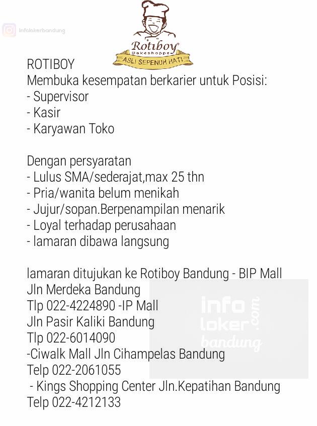 Lowongan Kerja Rotiboy Bandung Maret 2017