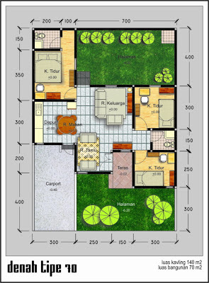 Denah  Rumah  Modern Type  70  Desain Denah  Rumah  Terbaru