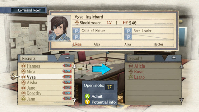 Valkyria Chronicles Command Room screen