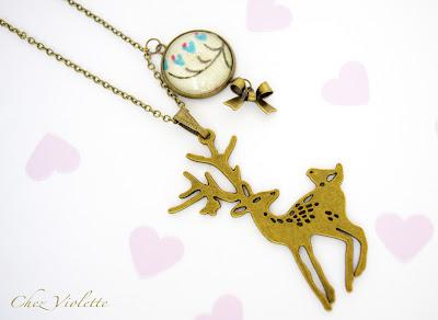 Collier pendentif Cerf et médaillons tissu provençale - Chez Violette