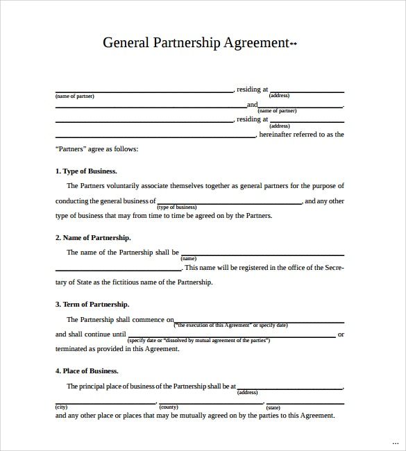 Partnership Agreement Template Forms word format - Excel Template - business partnership agreement template