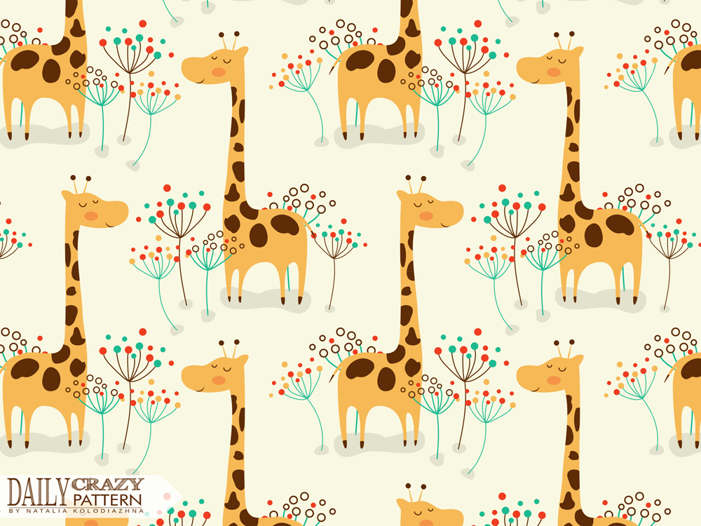 "Pattern for kids with cute giraffe for ""Daily Crazy Pattern"" project"
