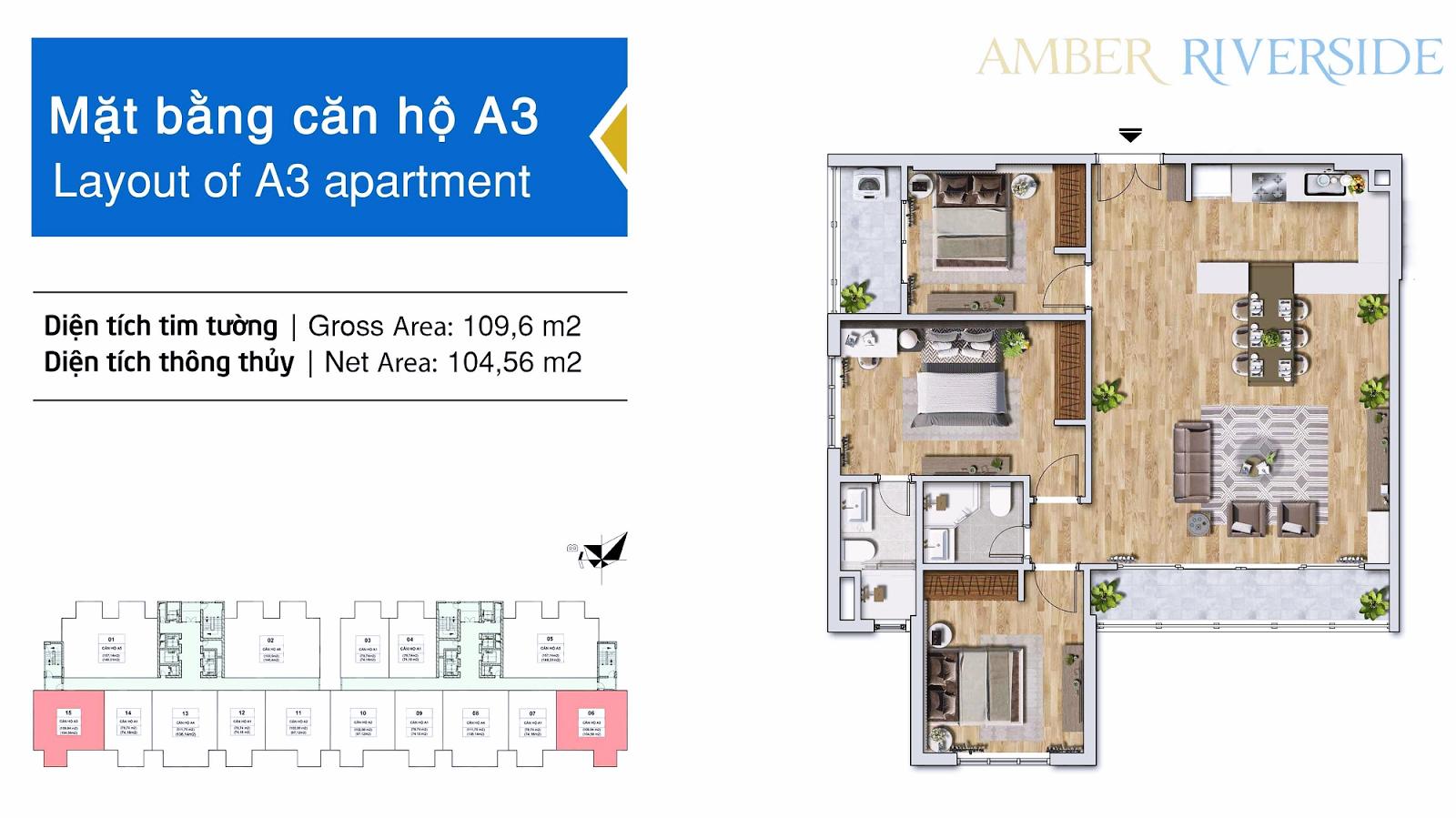 Thiết kế căn hộ A3 dự án Amber Riverside 622 Minh Khai