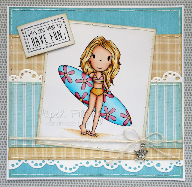 Trio of Summer cards for Making Cards magazine feature (Surfer Avery by The Paper Nest Dolls)