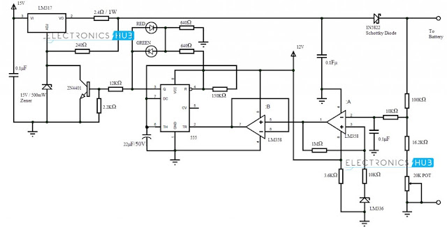 Circuit Diagram Automatic Battery Charger using LM317 and