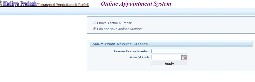 Wiki procedures apply online for madhya pradesh mp driving licence step 3 you will be taken to a page where you have to enter your learners driving licence number and dob to validate your application yadclub Gallery