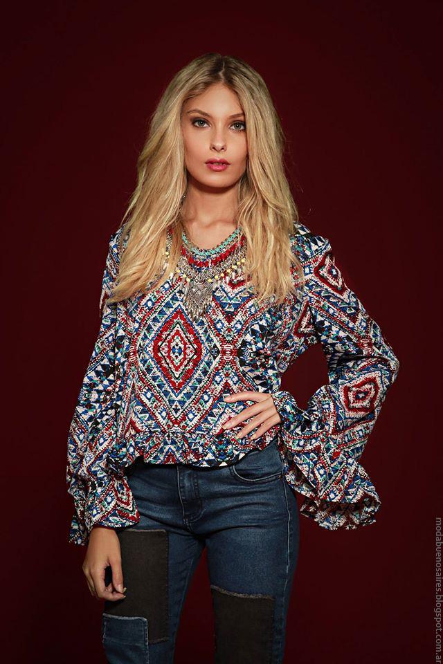 Moda invierno 2016 ropa de moda Sophya, Moda 2016 blusas con mangas acampanadas.