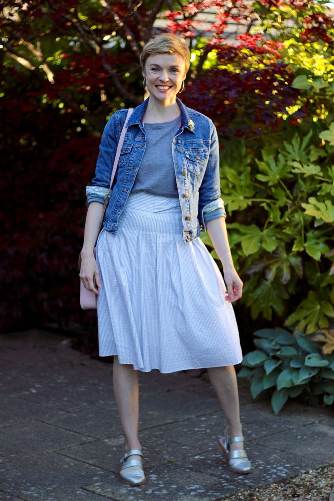 Denim jacket, ticking stripe full skirt and silver accessories | Fake Fabulous