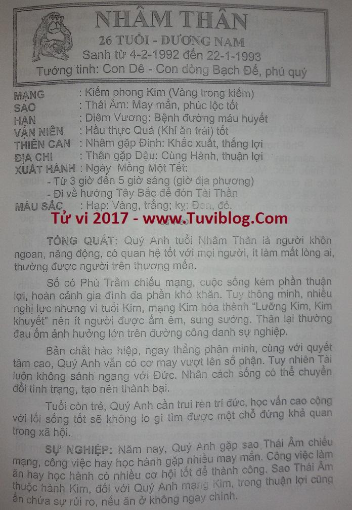 Tu vi 2017 Nham Than 1992 nam mang