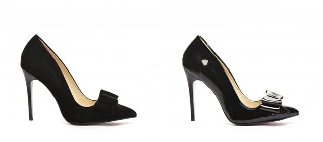 Pantofi eleganti cu toc inalt din negri pentru ocazii lacuiti sau piele intoarsa