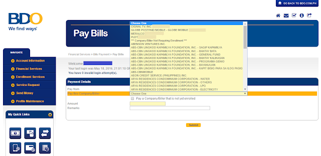 How to Pay Bills through BDO Online