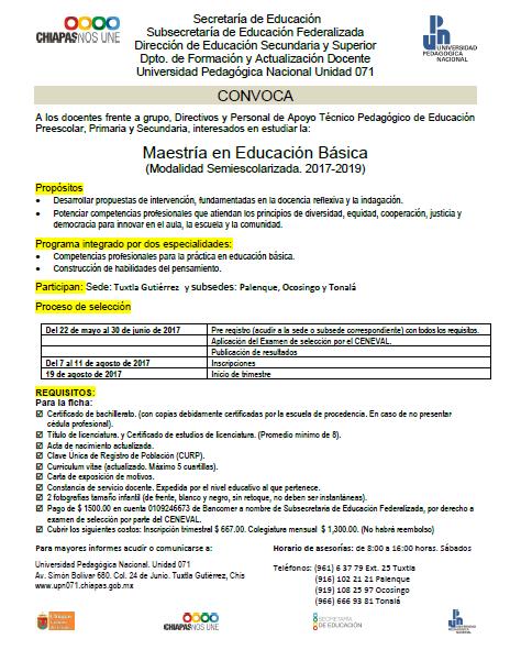 Sector 07 de telesecundaria convocatoria maestr a en for Convocatoria de docentes 2017