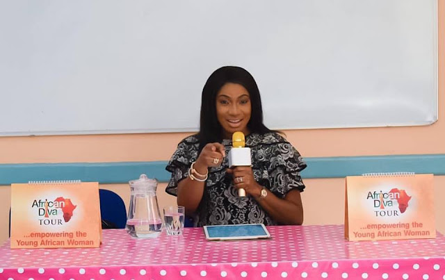 Chika Ike speaking to the young girls in Asni , Morrocco on the Importance of Education
