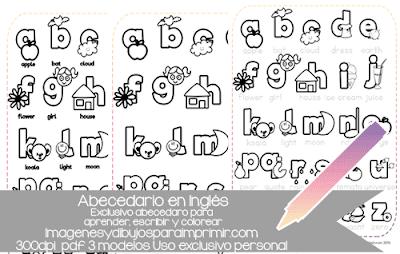 abecedario en ingles para colorear