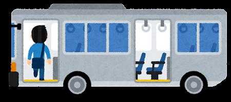 バスに乗る人のイラスト(男性・前のドア)