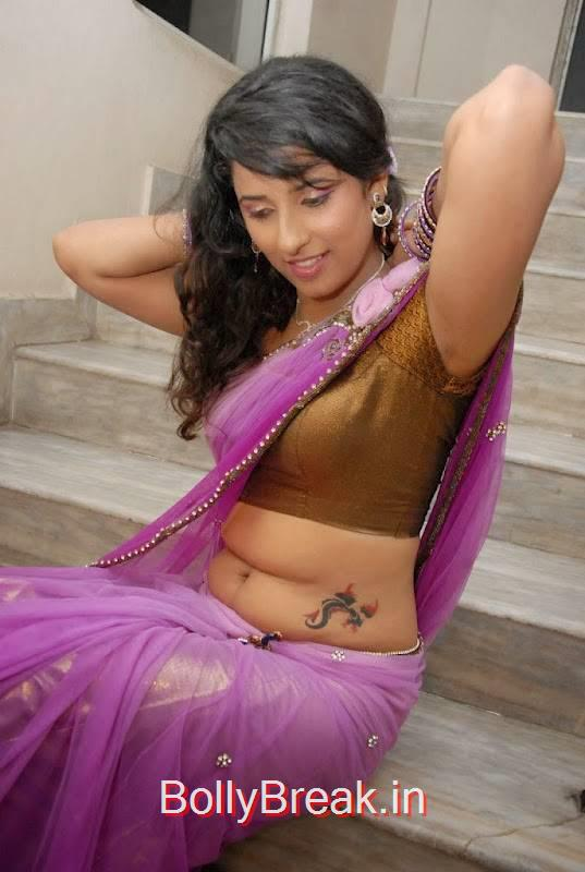 Sravya Reddy Pics, Sravya Reddy Hot HD Images In Violet Saree