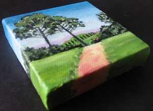"mini landscape art acrylic oil canvas painting by artist jillian crider 3x3"""