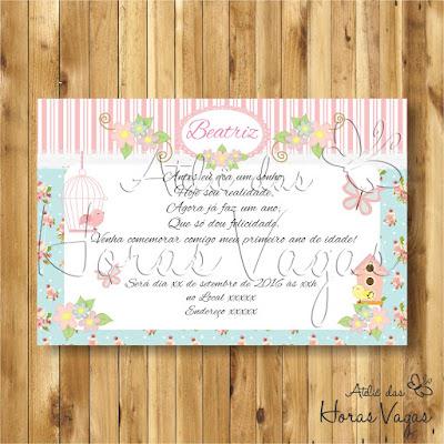 convite digital aniversário infantil personalizado jardim encantado floral delicado azul e rosa passarinho e borboletas provençal 1 aninho menina