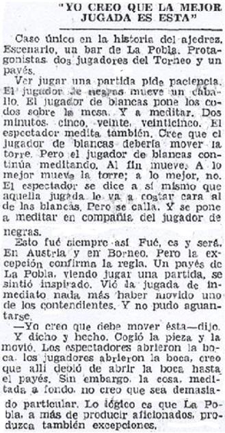 Crónica de Fernando Isaac Fernández sobre el Torneo de Ajedrez de La Pobla de Lillet 1957