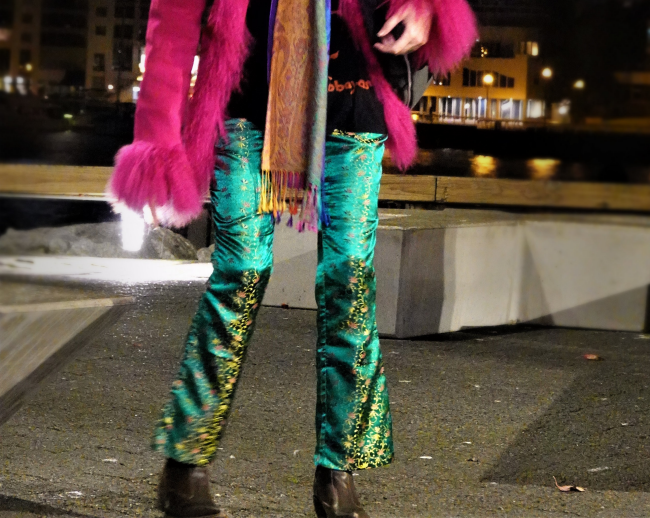 Mel Kobayashi satin bell bottoms, fucshia coat, Granville Island, Nov 2018 photo by Osamu